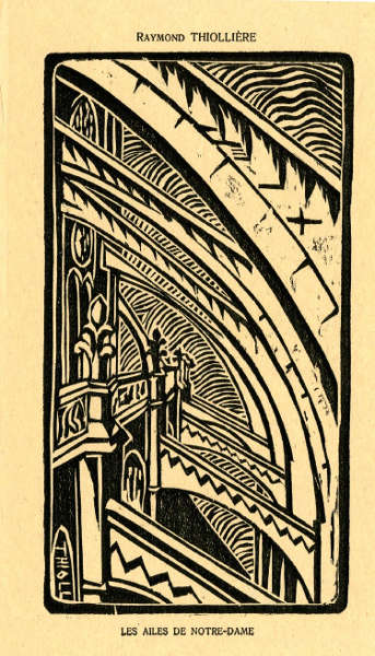 Raymond Thiollière, Notre-Dame, Strebebögen, 1920, Holzschnitt, aus: Images de Paris, Nr. 11, August 1920 (© The Trustees of the British Museum)