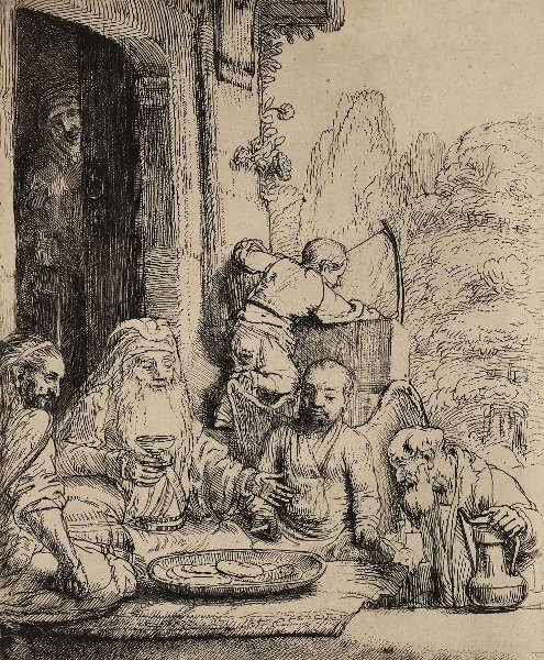 Rembrandt, Abraham, die Engel bewirtend, 1656 (Graphische Sammlung, Wallraf-Richartz-Museum, Foto: Dieter Bongartz)