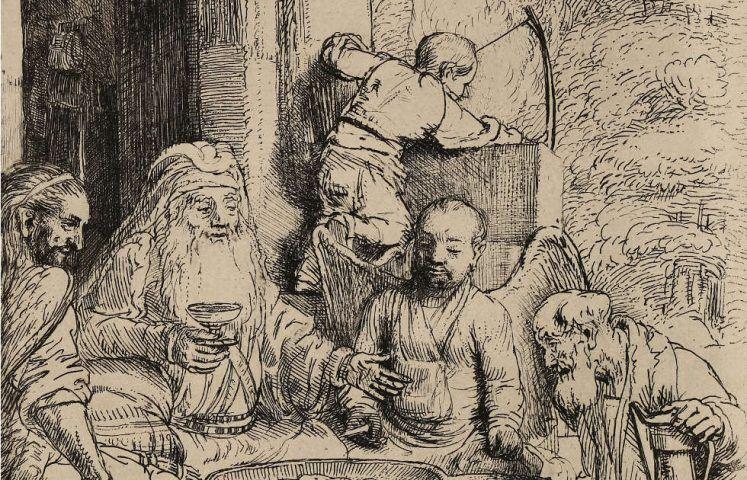 Rembrandt, Abraham, die Engel bewirtend, Detail, 1656 (Graphische Sammlung, Wallraf-Richartz-Museum, Foto: Dieter Bongartz)
