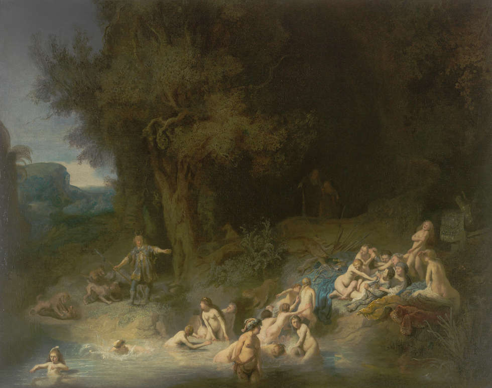 Rembrandt (Harmensz. van Rijn), Das Bad der Diana mit Aktäon und Kallisto, 1634, Öl/Lw, 93,5 x 168 cm (Wasserburg Anholt, Sammlung der Fürsten zu Salm-Salm, Foto: Wasserburg)