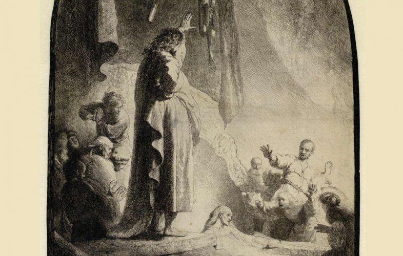 Rembrandt, Die Auferweckung des Lazarus (große Platte), Zustand V (10), Detail, um 1632, Radierung, Grabstichel, 36,6 x 25,8 cm (Albertina, Inv.-Nr. DG1926/140), Foto: © Albertina, Wien