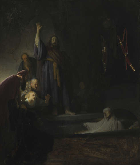 Rembrandt, Die Auferweckung des Lazarus, um 1630–1632, Öl/Holz, 96,4 x 81,3 cm (Los Angeles, County Museum of Art, Gift of H. F. Ahmanson and Company, in memory of Howard F. Ahmanson, M.72.67.2)
