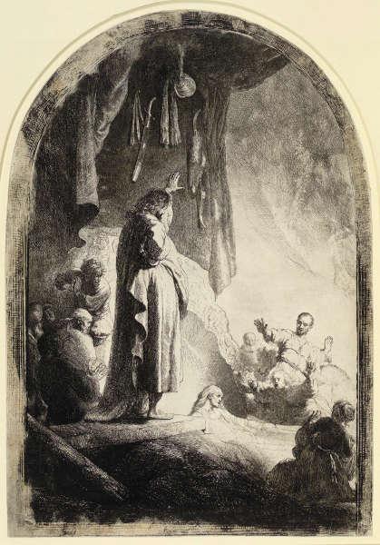 Rembrandt, Die Auferweckung des Lazarus (große Platte), Zustand I (10), um 1632, Radierung, Grabstichel, 36,6 x 25,8 cm (Albertina, Inv.-Nr. DG1926/139), Foto: © Albertina, Wien