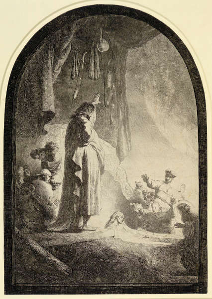 Rembrandt, Die Auferweckung des Lazarus (große Platte), Zustand IX (10), um 1632, Radierung, Grabstichel, 36,6 x 25,8 cm (Albertina, Inv.-Nr. DG1926/142), Foto: © Albertina, Wien