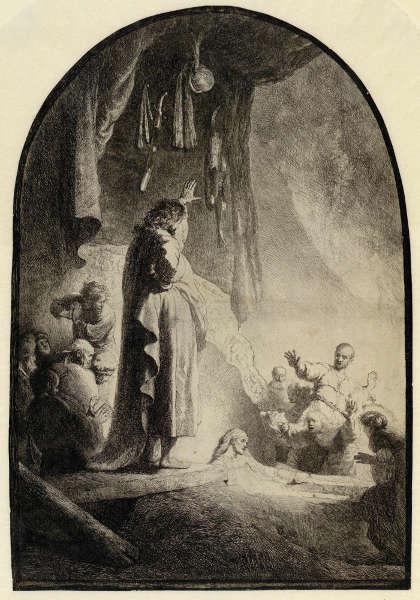 Rembrandt, Die Auferweckung des Lazarus (große Platte), Zustand V (10), um 1632, Radierung, Grabstichel, 36,6 x 25,8 cm (Albertina, Inv.-Nr. DG1926/140), Foto: © Albertina, Wien