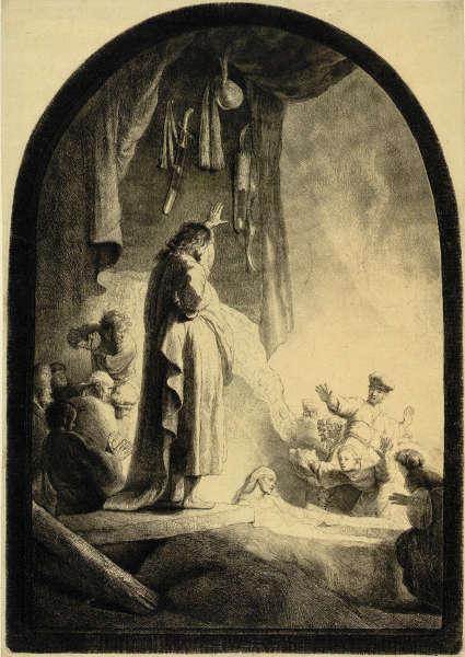 Rembrandt, Die Auferweckung des Lazarus (große Platte), Zustand VI (10), um 1632, Radierung, Grabstichel, 36,6 x 25,8 cm (Albertina, Inv.-Nr. DG1926/141), Foto: © Albertina, Wien