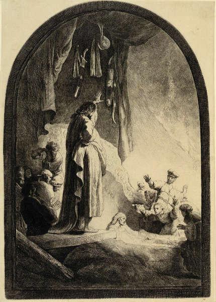 Rembrandt, Die Auferweckung des Lazarus (große Platte), Zustand VII (10), um 1632, Radierung, Grabstichel, 36,6 x 25,8 cm (Albertina, Inv.-Nr. DG1926/144), Foto: © Albertina, Wien