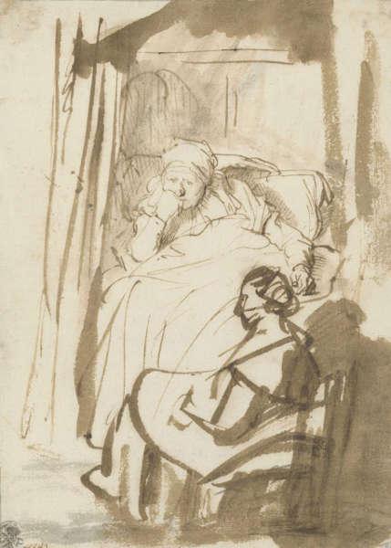 Rembrandt, Frau im Bett (Saskia?) mit einer Amme, um 1638, Feder und Pinsel in Braun, braun laviert, 22,7 x 16,4 cm (© Staatliche Graphische Sammlung München)
