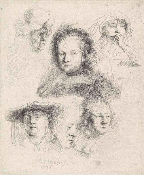 Rembrandt Harmenszoon van Rijn, Sechs Kopfstudien. Saskia und eine unbekannte Person, 1636 (Hamburger Kunsthalle ©bpk, Hamburger Kunsthalle, Foto: Christoph Irrgang)