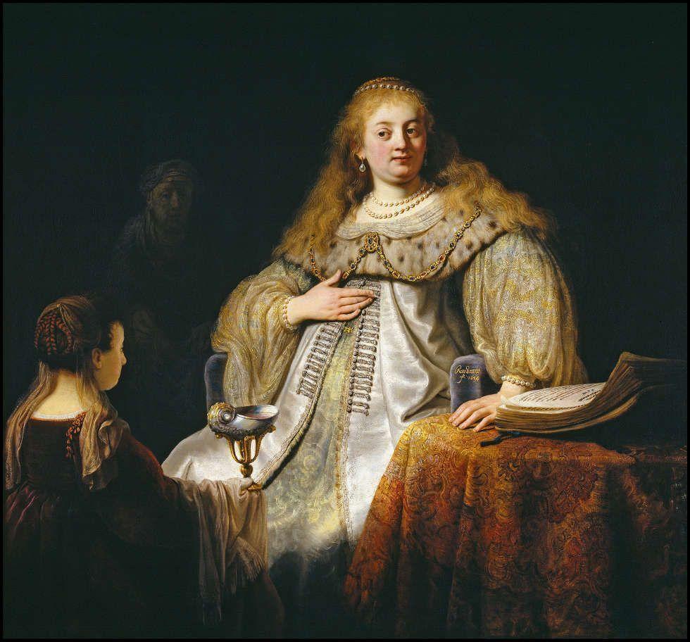 Rembrandt, Judith am Festmahl des Holofernes, 1634, Öl/Lw, 143 x 154,7 cm (Madrid, Museo Nacional del Prado)