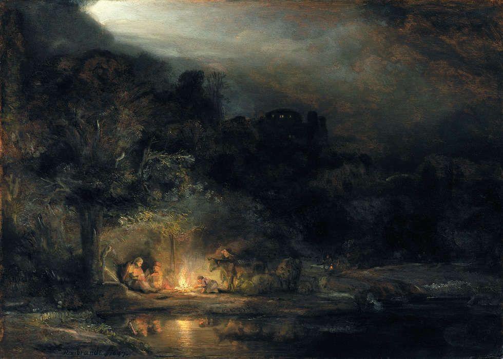 Rembrandt van Rijn, Landschaft mit der Ruhe auf der Flucht nach Ägypten, 1647, Öl/Holz, 34 x 48 cm (National Gallery of Ireland, Dublin, purchased, 1883)
