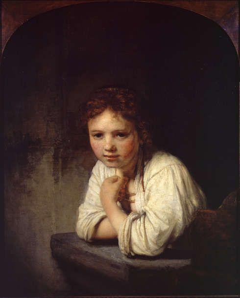 Rembrandt van Rijn, Mädchen am Fenster, 1645, Öl/Lw, 81.8 x 66.2 cm (Dulwich Picture Library, London, Bourgeois Bequest, 1811)