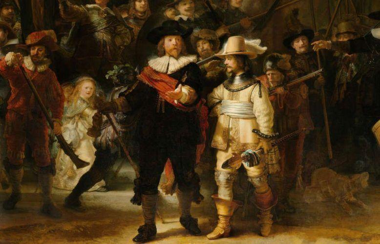 Rembrandt, Die Nachtwache, Detail, 1642, Öl/Lw, 379,5 x 453,5 cm (Rijksmuseum, Amsterdam)