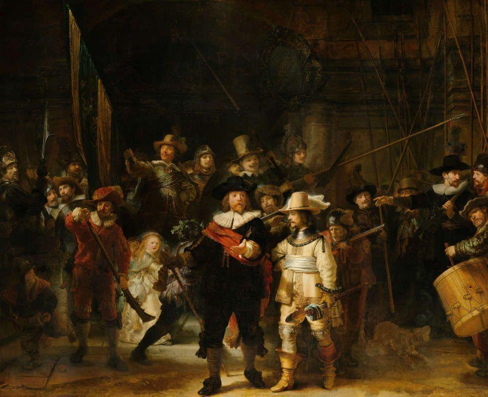 Rembrandt, Nachtwache [Militärkompagnie des Distrikt II unter dem Kommando von Kapitän Frans Bannick Cocq], 1642, Öl/Lw, 379,5 x 453,5 cm (Rijksmuseum, Amsterdam)