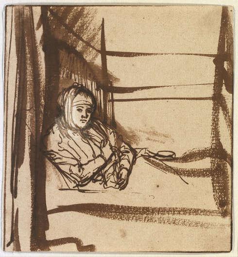 Rembrandt, Saskia im Bett, um 1638 (Dresden, Kupferstich-Kabinett © SKD, Foto: Herbert Boswank)