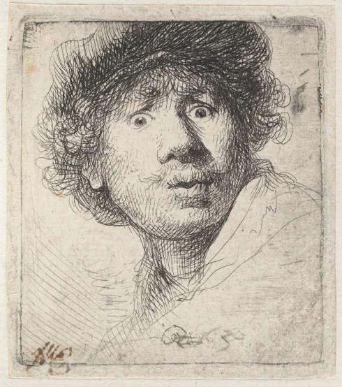Rembrandt van Rijn, Selbstbildnis mit Mütze, den Mund geöffnet, 1630, Radierung, 5,1 x 4,6 cm (© Hamburger Kunsthalle / bpk, Foto: Christoph Irrgang)