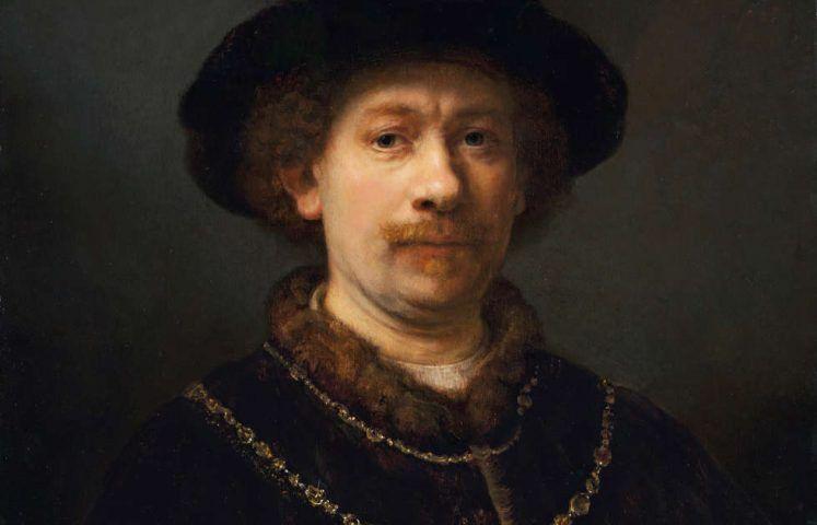Rembrandt, Selbstporträt mit Hut und zwei Ketten, Detail, um 1642/43, Öl/Lw, 72 x 54,8 cm (Museo Nacional Thyssen Bornemisza, Madrid)