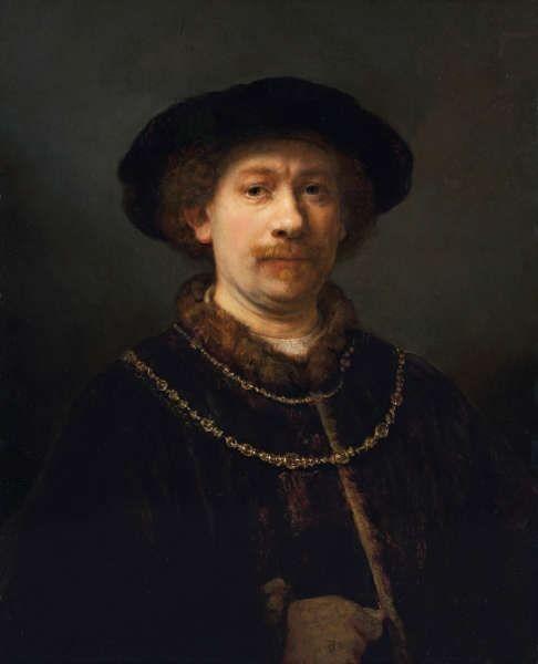 Rembrandt, Selbstporträt mit Hut und zwei Ketten, um 1642/43, Öl/Lw, 72 x 54,8 cm (Museo Nacional Thyssen Bornemisza, Madrid)