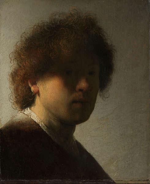 Rembrandt, Selbstporträt, um 1628, Öl/Holz, 22,6 x 18,7 cm (Rijksmuseum, Amsterdam)