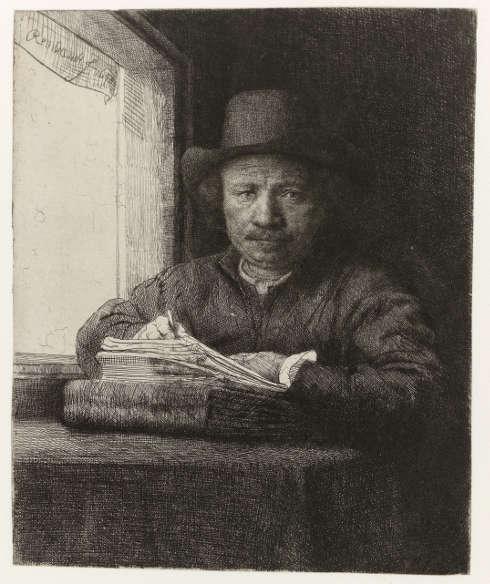 Rembrandt, Selbstporträt beim Radieren am Fenster, 1648, Radierung, 16 x 13 cm (Rijksmuseum, Amsterdam)