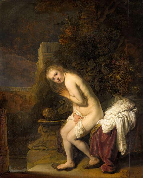 Rembrandt, Susanna im Bade, 1636, Öl/Holz, 47,4 x 38,6 cm (Mauritshuis, Den Haag) Rembrandt (zg.), Studie eines alten Mannes, 1650 (Mauritshuis, Den Haag)
