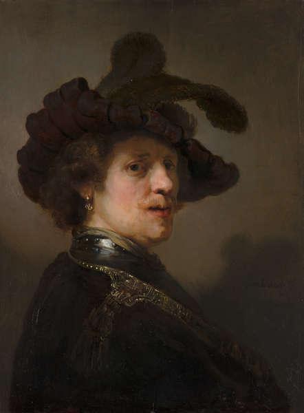 Rembrandt, Tronie eines Mannes mit einem federgeschmückten Barett, um 1635–1640 (Mauritshuis, Den Haag)