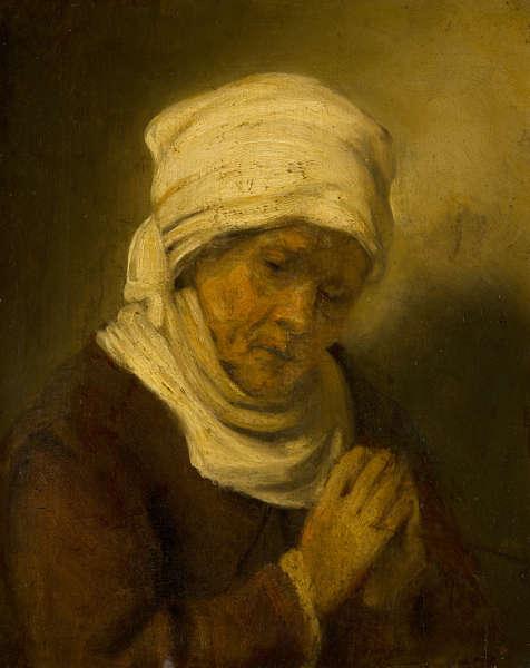 Rembrandt (Umkreis), Betende Frau, um 1660 (Bequest of Abraham Bredius, 1946, Mauritshuis, Den Haag)