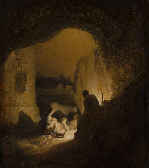 Rembrandt (Umkreis), Reisende auf der Rast (Ruhe auf der Flucht nach Ägypten?), um 1629/30 (Mauritshuis, Den Haag)