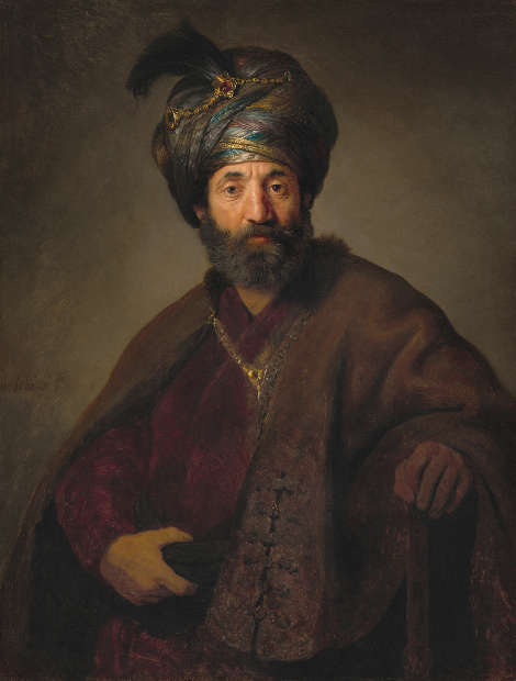 Rembrandt und Werkstatt, Mann in orientalischer Tracht, um 1635, Öl/Lw, 98.5 x 74.5 cm (National Gallery of Art, Washington, Andrew W. Mellon Collection, Inv.-Nr. 1940.1.13)