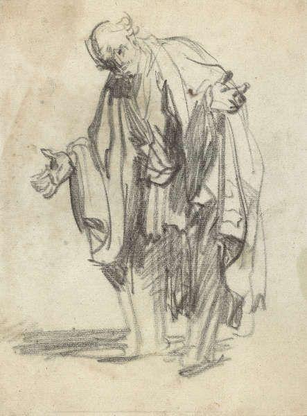 Rembrandt van Rijn, Alter Mann mit ausgebreiteten Armen, 1628/29 (Kupferstich-Kabinett © SKD, Foto: Herbert Boswank)