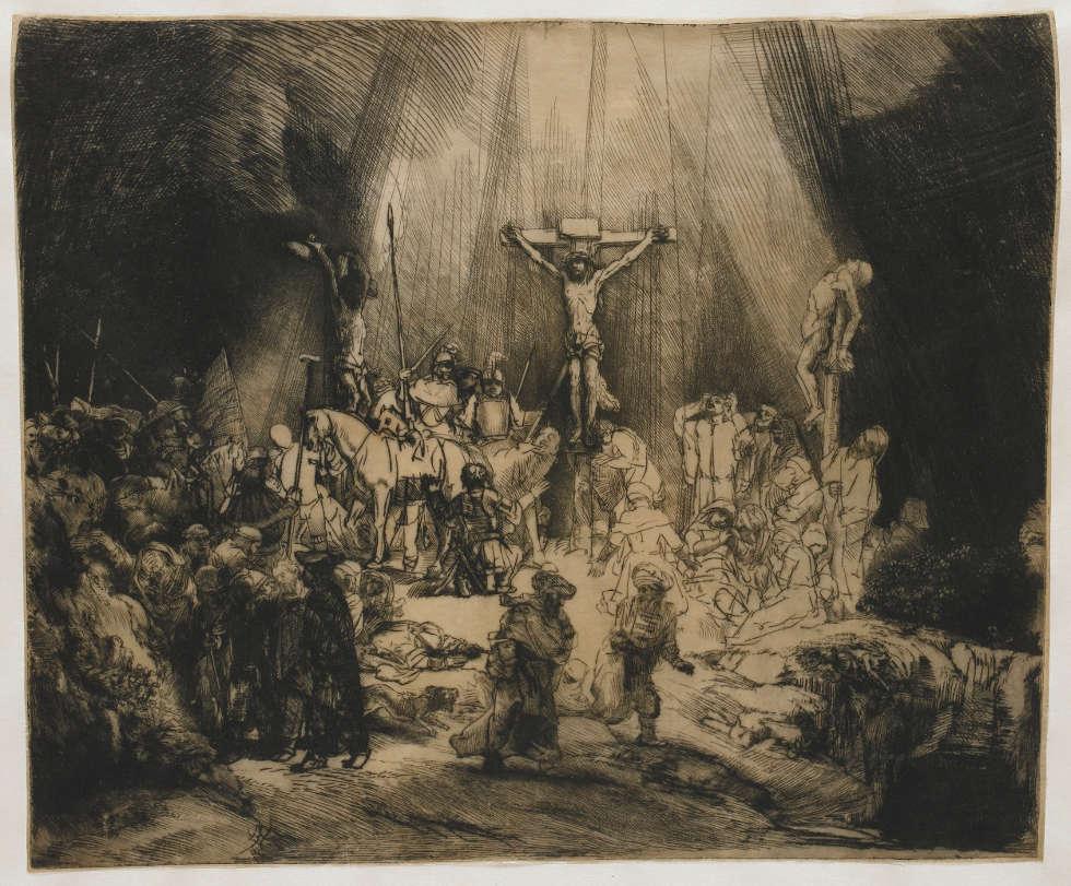 Rembrandt, Die drei Kreuze, 1653, Kaltnadel, 38,5 x 45 cm, erster Zustand von fünf (© Rijksmuseum, Amsterdam)