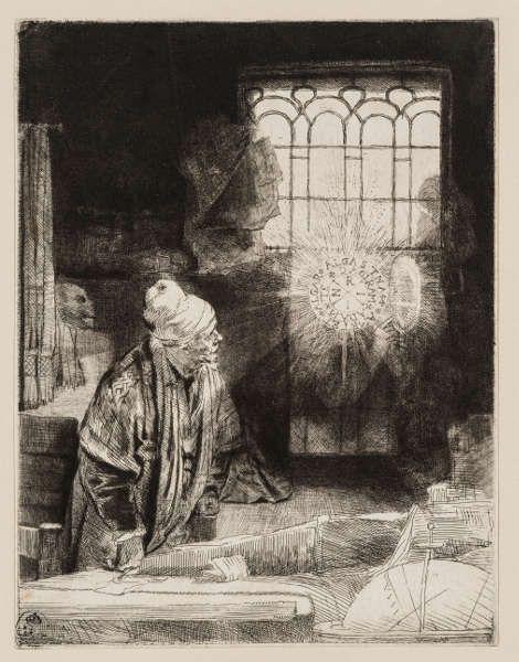 Rembrandt van Rijn, Faust, um 1652 (Kupferstich-Kabinett © SKD)