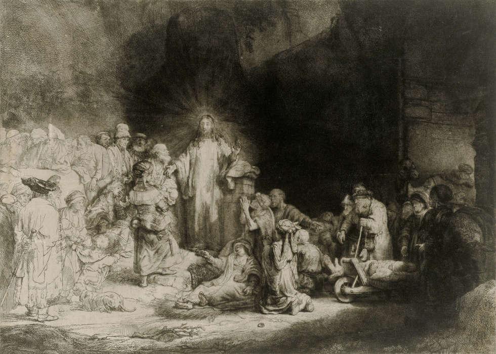Rembrandt van Rijn, Hundertguldenblatt, um 1647/49 Kupferstich-Kabinett (© SKD, Foto: Andreas Diesend)