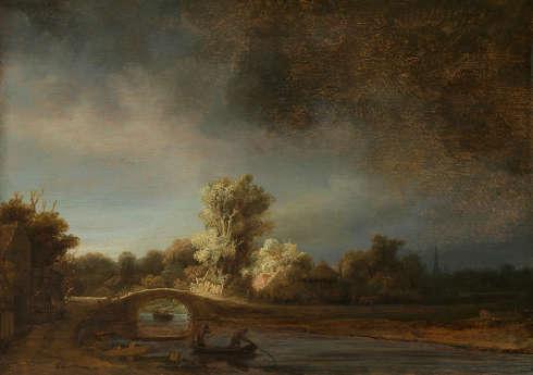 Rembrandt van Rijn, Landschaft mit steinerner Brücke, um 1638 (Rijksmuseum, Amsterdam, Aankoop met steun van de Vereniging Rembrandt en de heer A. Bredius, Amsterdam)