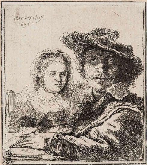 Rembrandt van Rijn, Selbstbildnis mit Saskia, 1636 (Kupferstich-Kabinett © SKD, Foto: Andreas Diesend)