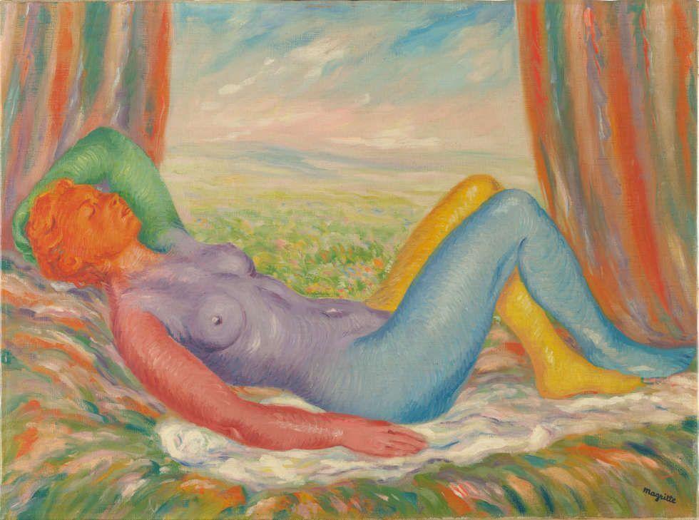 René Magritte, La Moisson [Ernte], 1943, Öl/Lw, 59,7 x 80 cm (Brüssel, Musées royaux des Beaux-Arts de Belgique © MRBAB, Bruxelles/photo: J. Geleyns - Art Photography Adagp Images, Paris, 2021)