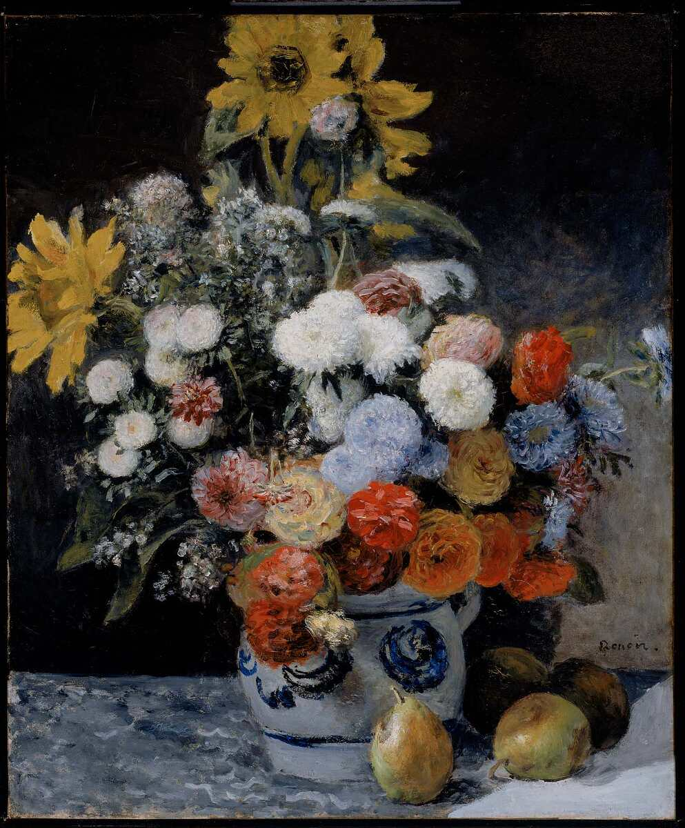 Pierre-Auguste Renoir, Fleurs [Blumen in einem Steingut Krug], um 1869, Öl auf Leinwand, 64.8 x 54.3 cm (Museum of Fine Arts, Boston, Bequest of John T. Spaulding)
