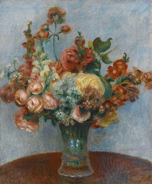 Pierre-Auguste Renoir, Fleurs dans un vase [Blumenvase], um 1896–1898, Öl/Lw, 55 x 46 cm, Paris, musée de l'Orangerie, Foto © RMN-Grand Palais (musée de l'Orangerie) / Franck Raux)