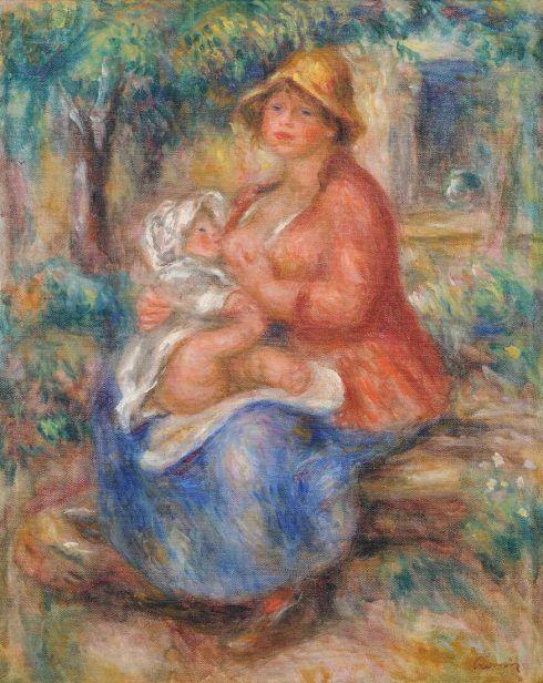 Pierre-Auguste Renoir, Aline Renoir stillt ihr Baby, 1915, Öl auf Leinwand, 51 × 40.5 cm (Bern, Kunstmuseum Bern. Georges F. Keller Bequest, 1981 D1575 D4004)