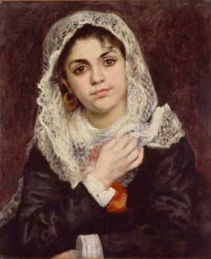 Pierre-Auguste Renoir, Lise in einem weißen Schal, um 1872, Öl auf Leinwand, 55.9 × 45.7 cm (Dallas, Dallas Museum of Art. The Wendy and Emery Reves Collection Tanz im Moulin de La Galette, 1876)