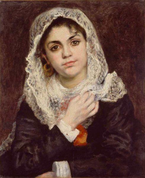 Pierre-Auguste Renoir, Lise in einem weißen Schal, um 1872, Öl auf Leinwand, 55.9 × 45.7 cm (Dallas, Dallas Museum of Art. The Wendy and Emery Reves Collection Tanz im Moulin de La Galette, 1876)
