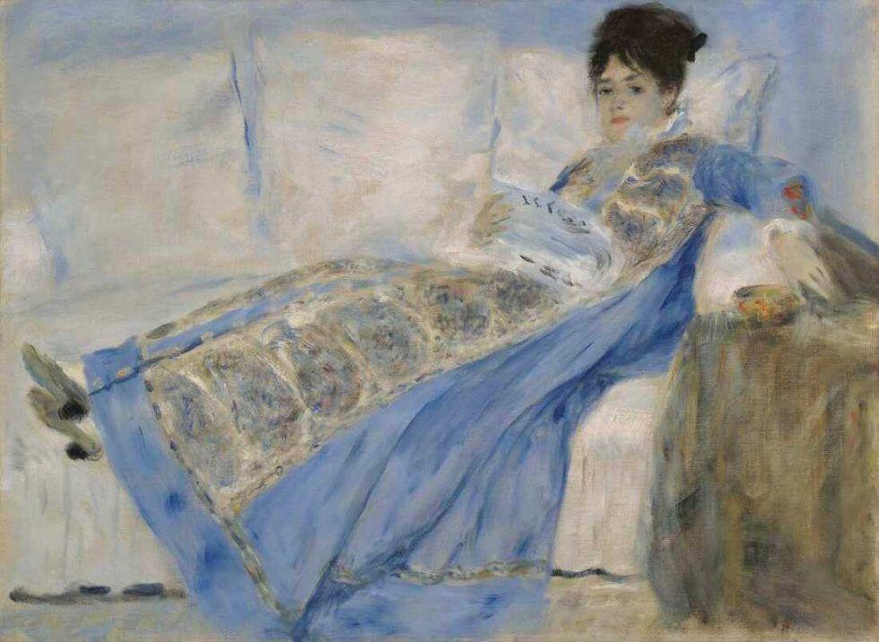 Pierre-Auguste Renoir, Porträt von Madame Claude Monet, um 1872–1874, Öl auf Leinwand, 53 × 71.7 cm (© Lissabon, Museu Calouste Gulbenkian D363, Foto: Catarina Gomes Ferreira)