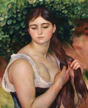 Pierre-Auguste Renoir, Der Zopf, um 1886/87, Öl auf Leinwand, 57 × 47 cm (© Baden, Museum Langmatt, Langmatt Foundation Sidney and Jenny Brown D1200)