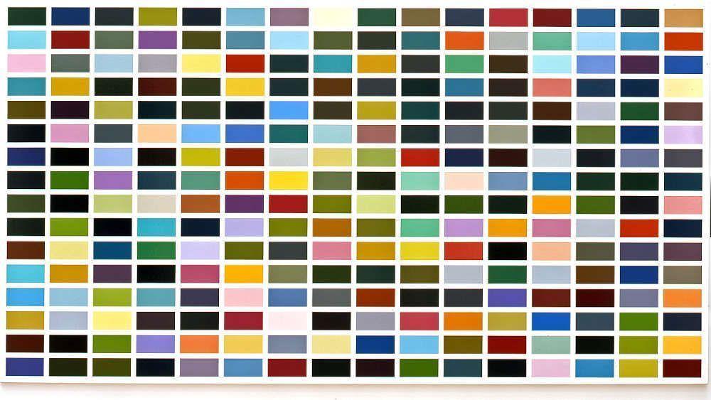 Gerhard Richter, 256 Farben (CR 352-3), 1974, Öl auf Leinwand, 222 x 414 cm (Kunstmuseum Bonn © Gerhard Richter, Foto: Reni Hansen)
