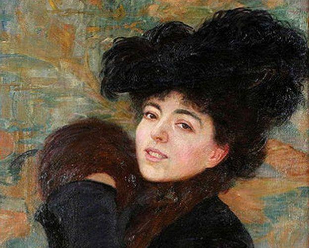 Robert Auer, Porträt der Frau des Künstlers mit Muff (Leopoldine Auer Schmidt), Detail, 1902, Öl auf Leinwand (© Privatsammlung)