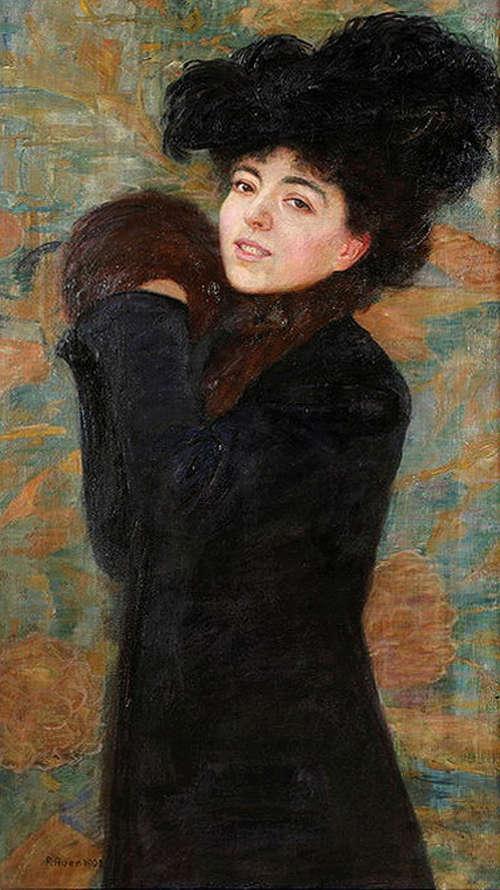 Robert Auer, Porträt der Frau des Künstlers mit Muff (Leopoldine Auer Schmidt), 1902, Öl auf Leinwand (© Privatsammlung)