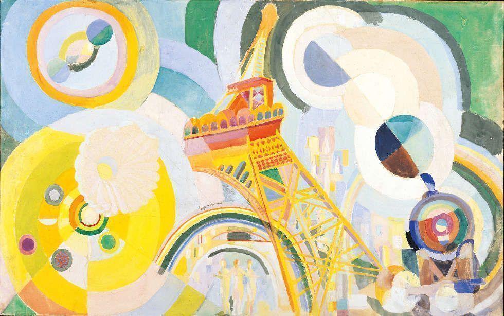 Robert Delaunay, Air, fer, eau. Étude pour un mural, 1936–1937, Gouache auf Papier und Holz, 47 x 74,5 cm (Albertina, Wien. Sammlung Batliner)