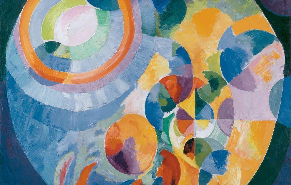 Robert Delaunay, Formes circulaires. Soleil, lune, Detail, 1913–1931, Öl/Lw, 200 x 197 cm (Kunsthaus Zürich)Pawlowa, Detail, 1913, Silbergelatineabzug, 22,4 x 16,7 cm (© Museum für Kunst und Gewerbe Hamburg)