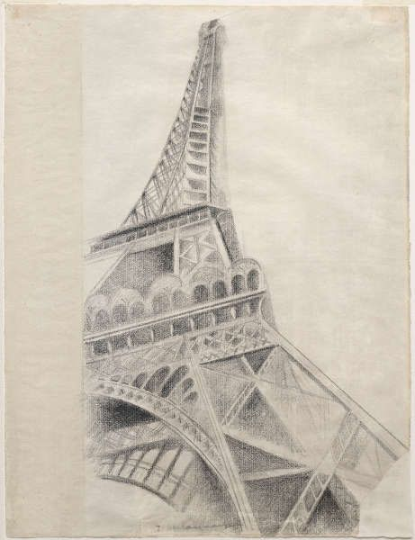 Robert Delaunay, La Tour Eiffel, 1926–1928, Bleistift Conté auf Papier, 62,3 x 47,5 cm (Solomon R. Guggenheim Museum, New York. The Hilla Rebay Collection)