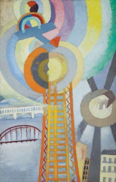 Robert Delaunay, La Tour Eiffel et l'avion, 1925, Öl/Lw, 155 x 95 cm (Courtesy Galerie Le Minotaure, Paris)